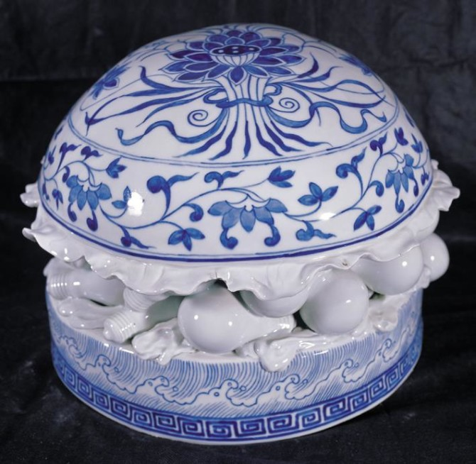 Blue and white ceramic
